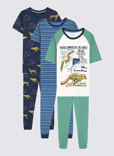 Marks & Spencer 3'lü Desenli Pijama Seti Renkli